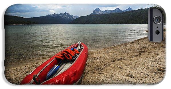 Canoe iPhone Cases - Redfish Lake Stanley Idaho iPhone Case by Vishwanath Bhat