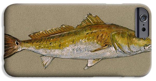 Redfish iPhone Cases - Redfish painting  iPhone Case by Juan  Bosco