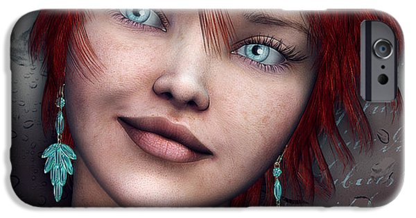 3d Graphic iPhone Cases - Redhead iPhone Case by Jutta Maria Pusl