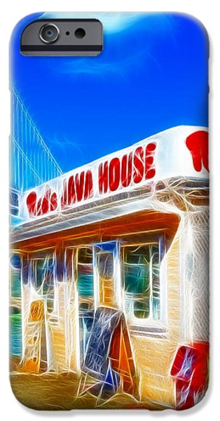 Oakland Bay Bridge iPhone Cases - Reds Java House Electrified iPhone Case by Wingsdomain Art and Photography