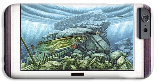Musky Paintings iPhone Cases - Reef King Musky iPhone Case by JQ Licensing