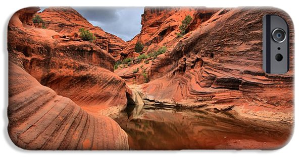 Red Cliffs iPhone Cases - Red Cliffs Canyon Reflections iPhone Case by Adam Jewell