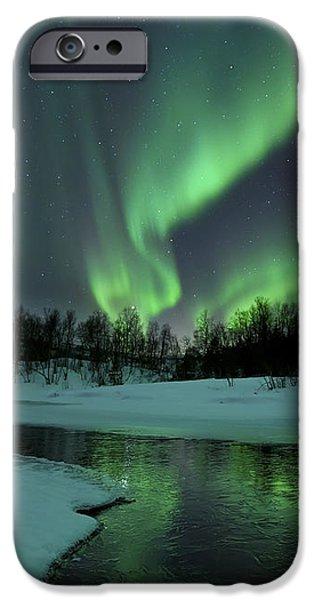 Reflected Aurora Over A Frozen Laksa iPhone Case by Arild Heitmann