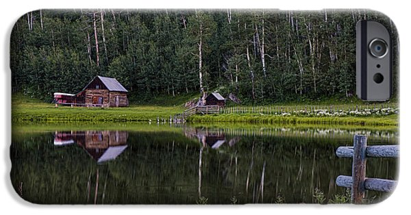 Pines iPhone Cases - Reflected Cabin and Trees near Durango Colorado iPhone Case by Dave Dilli