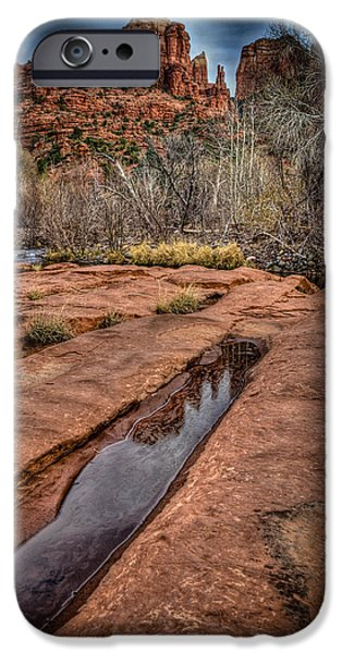 Cathedral Rock Pyrography iPhone Cases - Reflection of Cathedral Rock iPhone Case by Rick Strobaugh