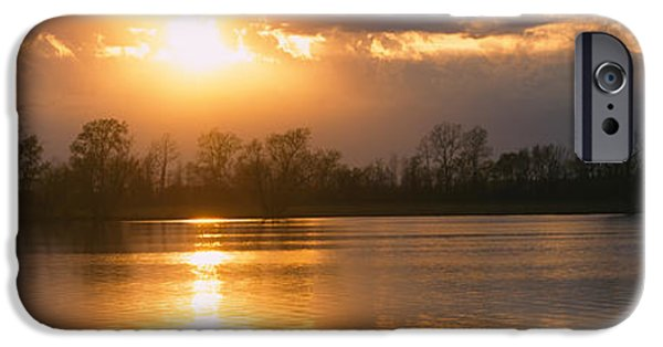 Arkansas iPhone Cases - Reflection Of Sun In Water, West iPhone Case by Panoramic Images