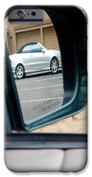 Old Cars iPhone Cases - Reflection of White Car Near Old Adobe Wall iPhone Case by Tamara Kulish