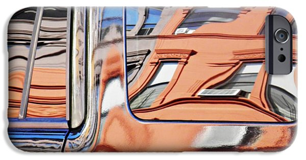 Business Photographs iPhone Cases - Reflection on a Parked Car 9 iPhone Case by Sarah Loft
