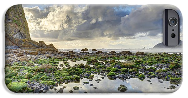 Alga iPhone Cases - Reflections at Low Tide HDR iPhone Case by Marv Vandehey