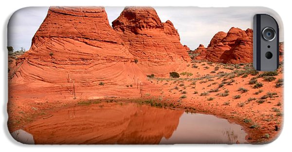 Holes In Sandstone iPhone Cases - Reflections At Paw Hole iPhone Case by Adam Jewell