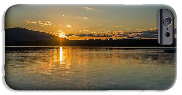 Canoe iPhone Cases - Reflections at Sunset iPhone Case by Mary Koenig Godfrey
