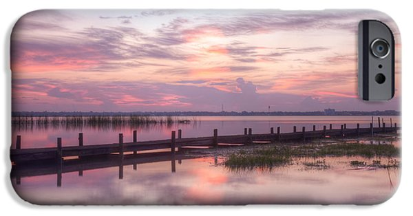 Rural iPhone Cases - Reflections at the Dock iPhone Case by Debra and Dave Vanderlaan