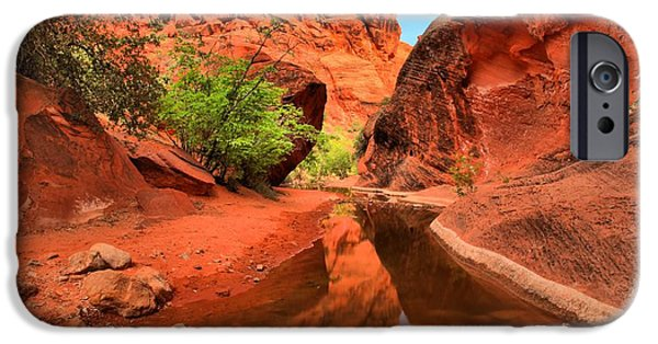 Red Cliffs iPhone Cases - Reflections In Quail Creek iPhone Case by Adam Jewell