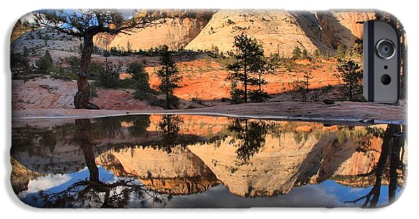 Zion Park iPhone Cases - Reflections In The Rainwater iPhone Case by Adam Jewell