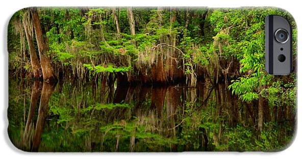 Chiefland iPhone Cases - Reflections Near The Suwannee River iPhone Case by Adam Jewell