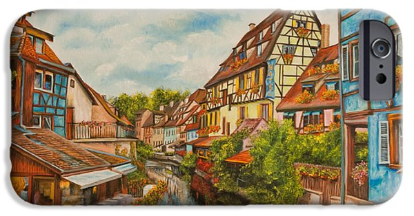 Painter Photo Paintings iPhone Cases - Reflections of Colmar iPhone Case by Charlotte Blanchard