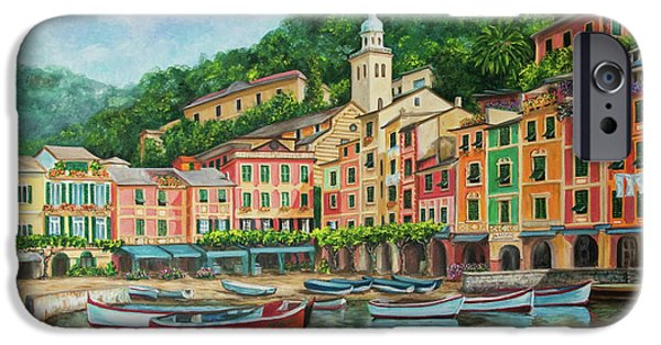 Italian Landscape iPhone Cases - Reflections Of Portofino iPhone Case by Charlotte Blanchard