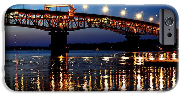 Yorktown Virginia iPhone Cases - Reflections of the Coleman Bridge iPhone Case by Nancy Comley