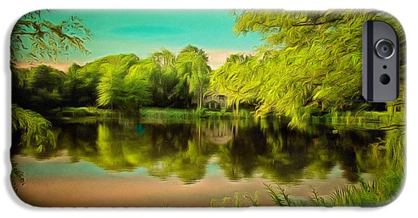 Caruso iPhone Cases - Reflections on a Pond iPhone Case by Anthony Caruso