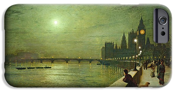 Night iPhone Cases - Reflections on the Thames iPhone Case by John Atkinson Grimshaw