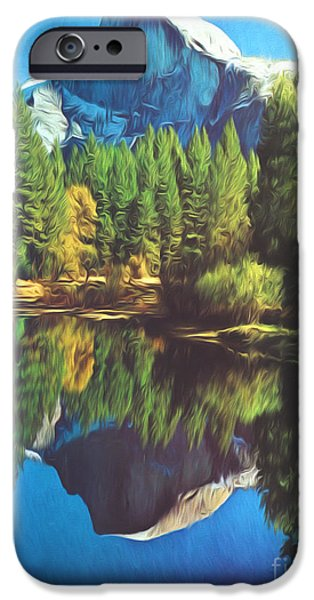 Half Dome Paintings iPhone Cases - Reflections iPhone Case by Steve Bailey