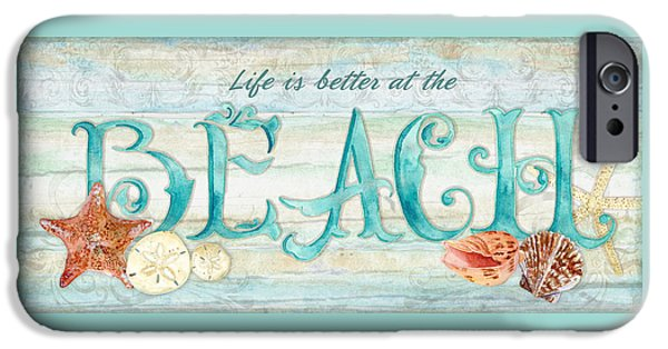 Hand-watercolored iPhone Cases - Refreshing Shores - Life is Better at the Beach iPhone Case by Audrey Jeanne Roberts