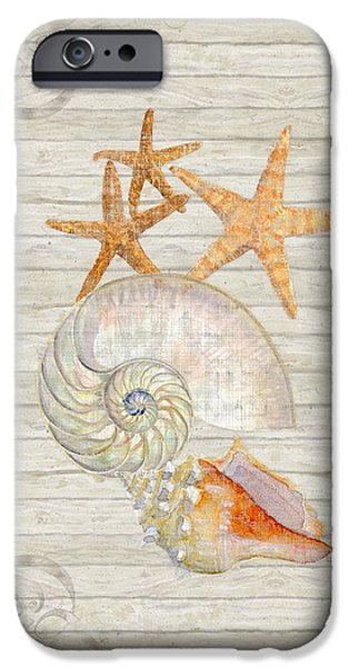Lighthouse Mixed Media iPhone Cases - Refreshing Shores - Lighthouse Starfish Nautilus n Conch over driftwood background iPhone Case by Audrey Jeanne Roberts