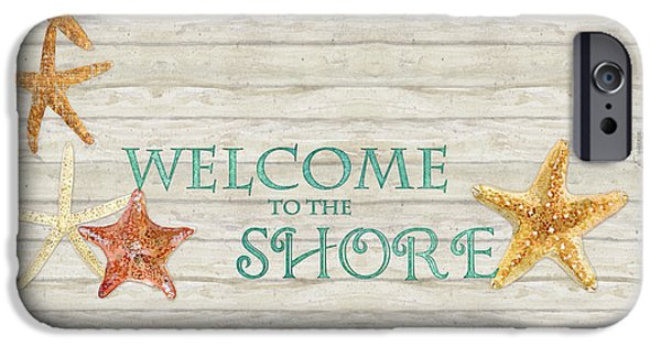 Board Mixed Media iPhone Cases - Refreshing Shores - Welcome to the Shore Lighthouse iPhone Case by Audrey Jeanne Roberts