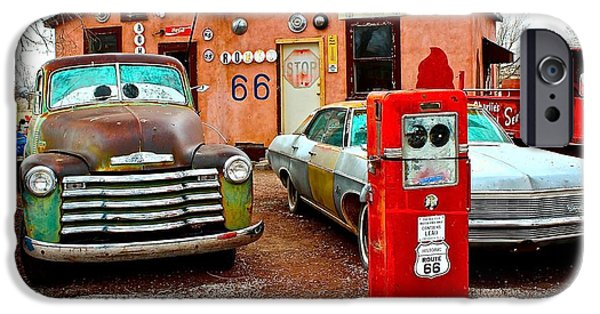 Old Cars iPhone Cases - Refueling on Route 66 iPhone Case by Barbara Zahno