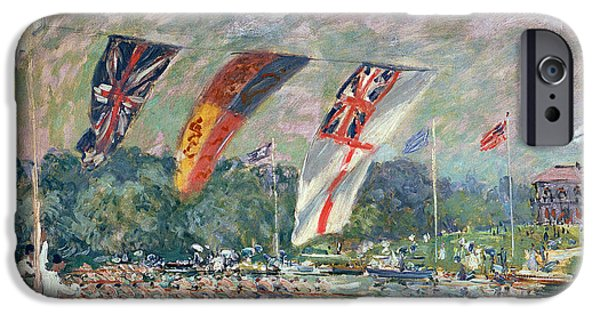 Regatta iPhone Cases - Regatta at Molesey iPhone Case by Alfred Sisley