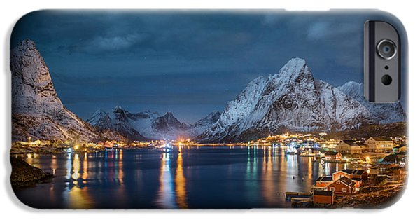 Norway iPhone Cases - Reine by Night iPhone Case by Lorenzo Riva