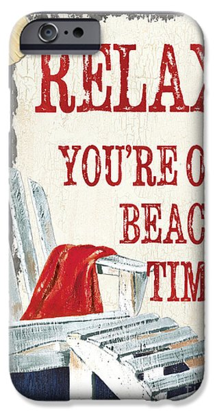 Beach Chair iPhone Cases - Relax Youre on Beach Time iPhone Case by Debbie DeWitt
