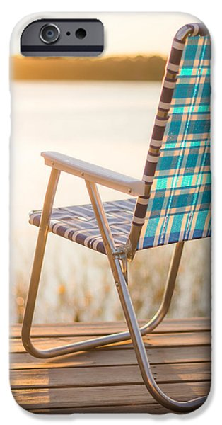 Lawn Chair iPhone Cases - Relaxing at the Lake iPhone Case by Shelby  Young