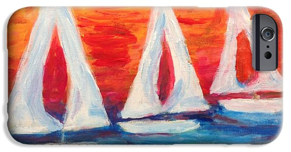 Sailboat Ocean iPhone Cases - Relaxing Sails iPhone Case by Owen McCafferty