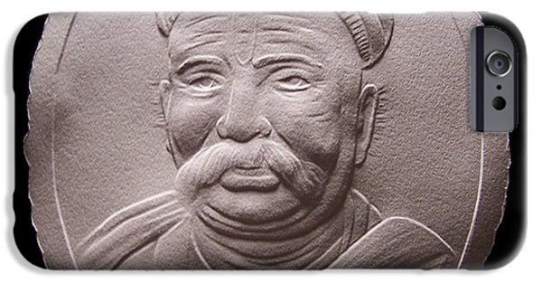 Portraits Reliefs iPhone Cases - Relief Drawing Of Lokmanya Tilak iPhone Case by Suhas Tavkar