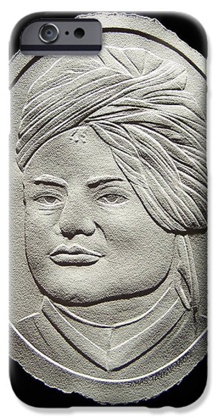 Portraits Reliefs iPhone Cases - Relief Drawing Of Vivekananda iPhone Case by Suhas Tavkar