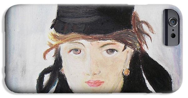 Impression Pastels iPhone Cases - Remake Portrait of Berthe Morisot iPhone Case by Keshava Shukla