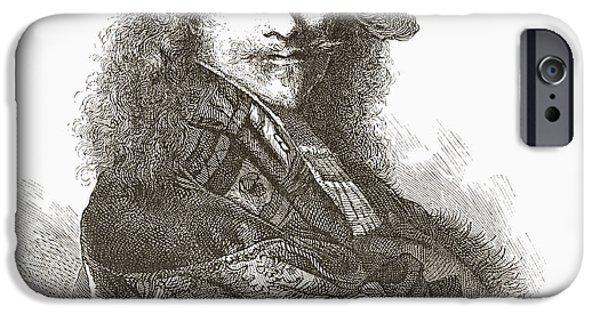 Rembrandt Drawings iPhone Cases - Rembrandt Harmenszoon Van Rijn, 1606 iPhone Case by Ken Welsh