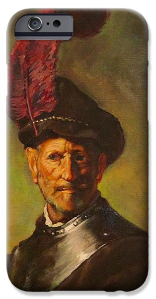 David iPhone Cases - Rembrandts Old Man as a Soldier iPhone Case by David Stewart
