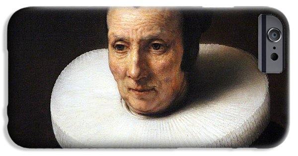 Cora Wandel iPhone Cases - Rembrandts Ruff On An Old Lady With A Book iPhone Case by Cora Wandel