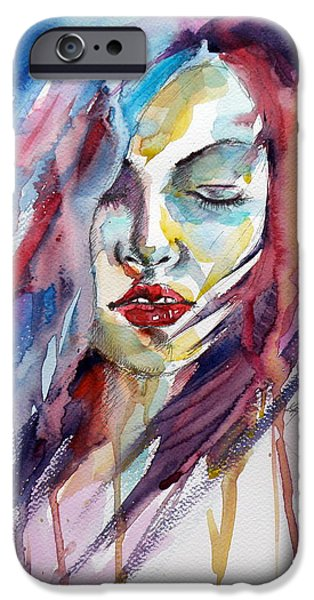 Young Paintings iPhone Cases - Remember iPhone Case by Kovacs Anna Brigitta