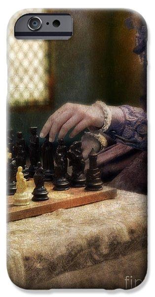 Renaissance Lady Playing Chess iPhone Case by Jill Battaglia