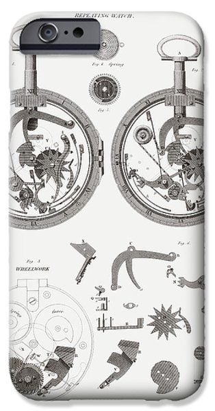 Technology Drawings iPhone Cases - Repeating Watch. From The Cyclopaedia iPhone Case by Ken Welsh
