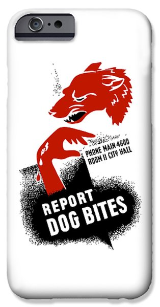 Bite iPhone Cases - Report Dog Bites - WPA iPhone Case by War Is Hell Store