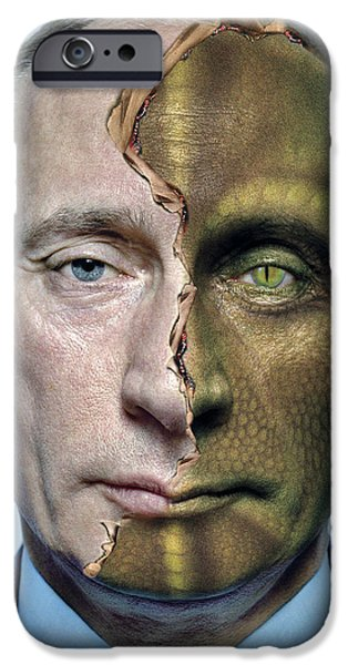 Altered iPhone Cases - Reptilian Putin iPhone Case by Marian Voicu