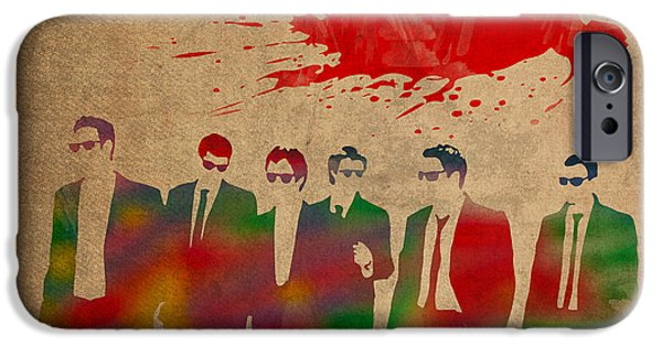 Reservoir iPhone Cases - Reservoir Dogs Movie Minimal Silhouette Watercolor Painting iPhone Case by Design Turnpike