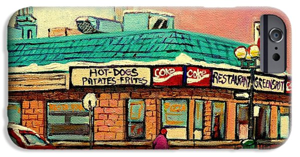 Restaurant Greenspot iPhone Cases - Restaurant Greenspot Deli Hotdogs iPhone Case by Carole Spandau