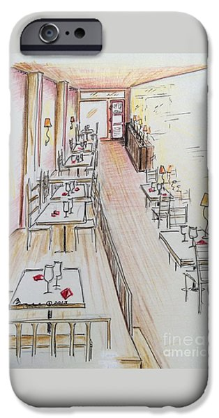 Table Wine Drawings iPhone Cases - Restaurant in Waiting iPhone Case by Barbara Chase