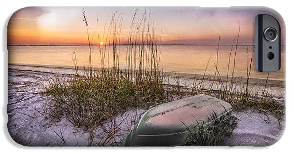 Ocean Sunset iPhone Cases - Restful Dunes iPhone Case by Debra and Dave Vanderlaan