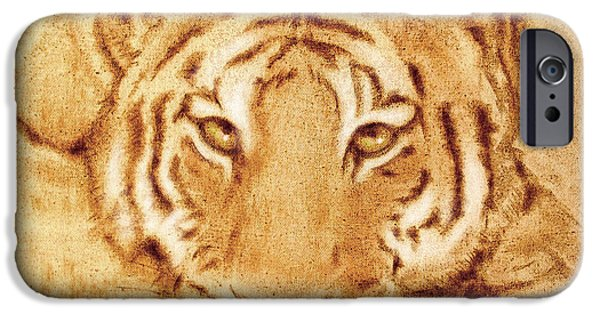 Predator Pyrography iPhone Cases - Resting Tiger iPhone Case by Dale Loos Jr